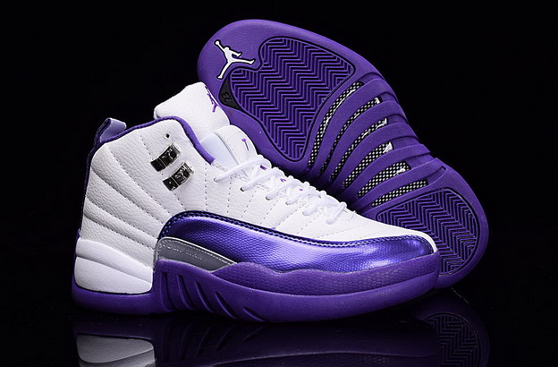 Womens Jordan 12 Retro Shoes Dark Purple/white
